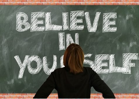 Chalkboard with the words Believe in Yourself on it
